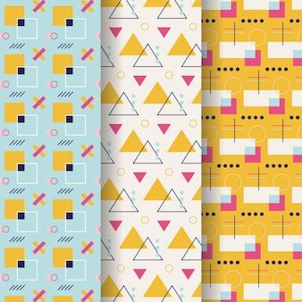Pacote de padrões geométricos mínimos coloridos Vetor grátis
