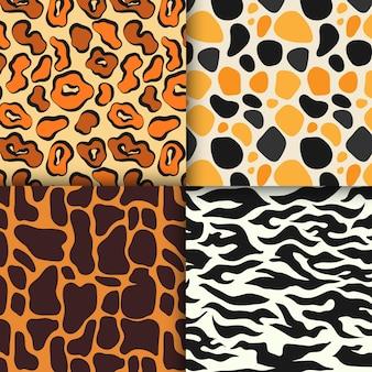 Pacote de padrões modernos de estampa animal