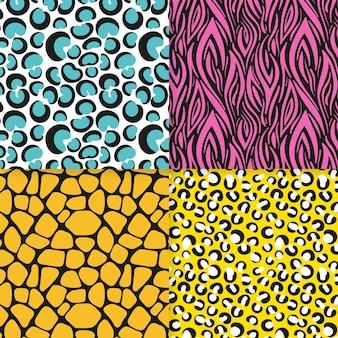 Pacote de padrões modernos de estampas de animais