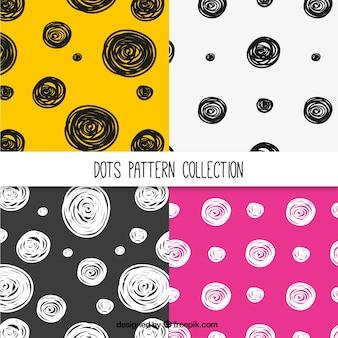 Pacote de padrões modernos de mão desenhada círculos
