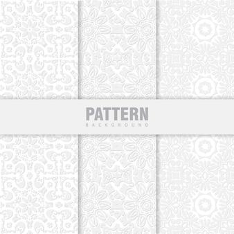 Pacote de padrões orientais. fundo branco com ornamentos árabes