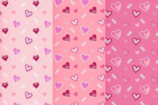 Pacote de padrões planos para o dia dos namorados