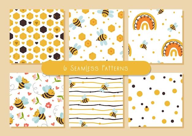 Pacote de padrões sem emenda de crianças honey bee