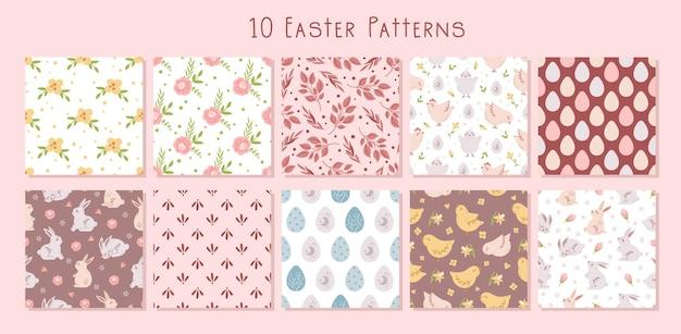 Pacote de padrões sem emenda florais pastel de páscoa