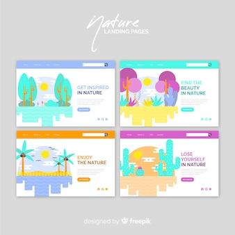Pacote de página de aterrissagem de natureza colorida