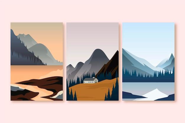 Pacote de paisagem diferente de ilustração de design plano