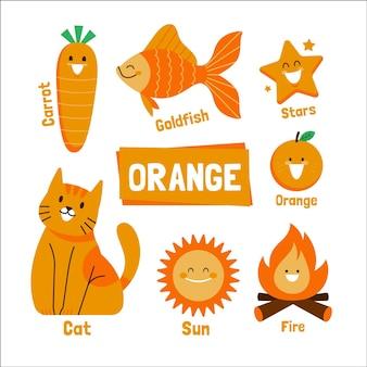 Pacote de palavras e elementos laranja em inglês