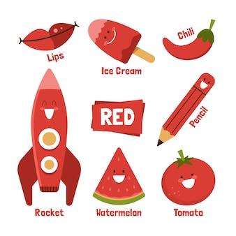 Pacote de palavras e elementos vermelhos em inglês