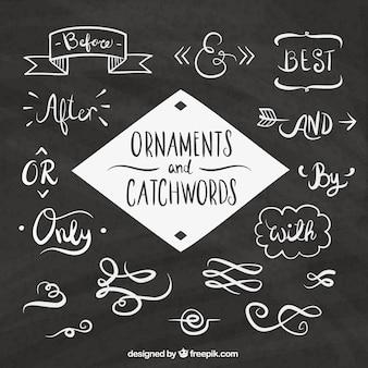 Pacote de palavras e esboça elementos para decoração