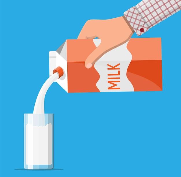 Pacote de papel com leite e vidro isolado em azul. bebida láctea de leite. produto orgânico saudável. ilustração vetorial em estilo simples