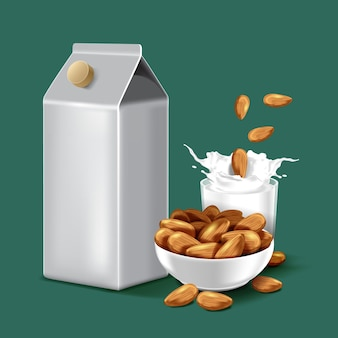 Pacote de papel de leite de amêndoa com respingos de líquido e sementes