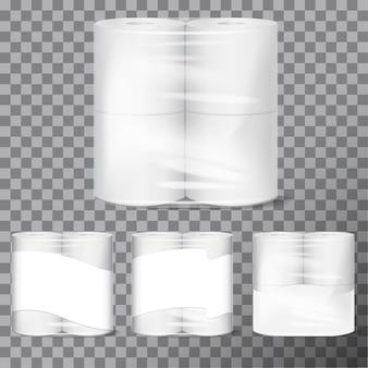 Pacote de papel higiênico simulado com embalagem transparente.