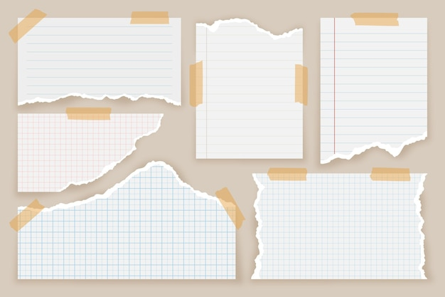Pacote de papel rasgado de estilo realista