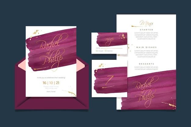 Pacote de papelaria aquarela bordô e casamento dourado