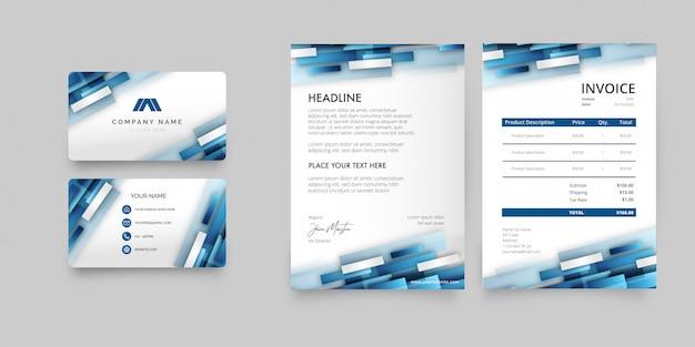 Pacote de papelaria empresarial moderno com formas abstratas azuis