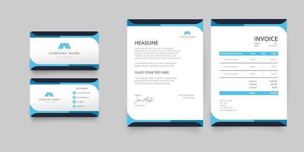 Pacote de papelaria empresarial moderno com formas azuis