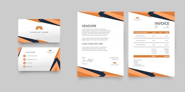 Pacote de papelaria empresarial moderno com formas laranja