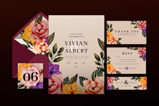 Pacote de papelaria para casamento botânico
