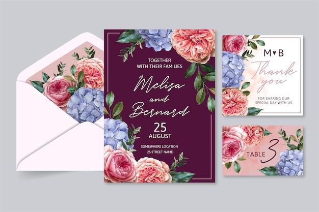 Pacote de papelaria para casamento em aquarela dramática