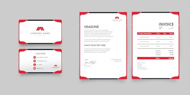 Pacote de papelaria profissional para negócios com formas vermelhas