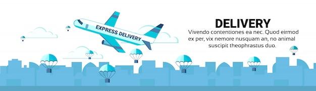Pacote de pára-quedas voando avião conceito de serviço de entrega rápida de encomendas expresso