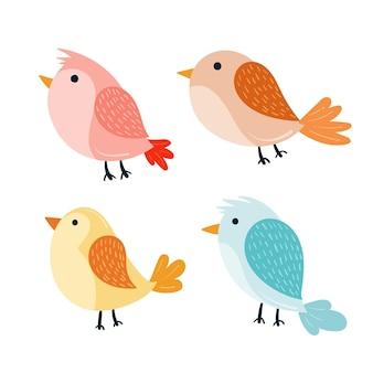 Pacote de pássaros outono mão desenhada