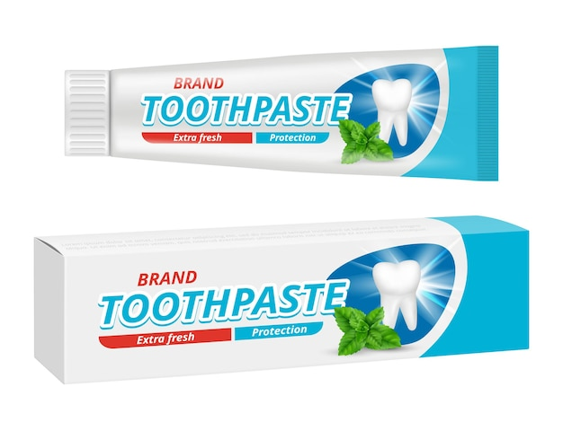 Pacote de pasta de dente. molde do projeto do vetor do rótulo da caixa de proteção dental dos dentes. ilustração do projeto do tubo de pasta de dente, dente de cuidado do produto