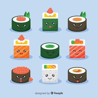 Pacote de peças de sushi kawaii