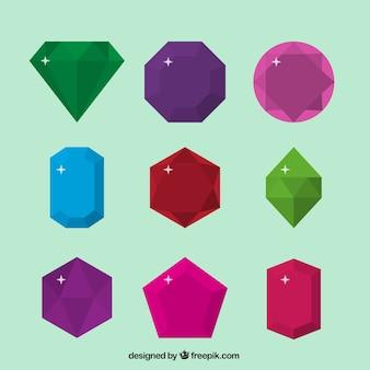 Pacote de pedras preciosas em design plano