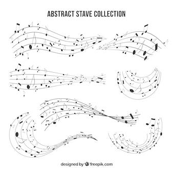 Pacote de pentagramas com notas musicais