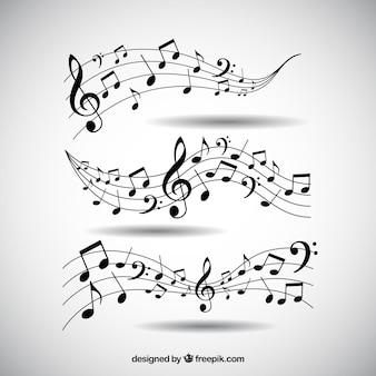Pacote de pentagramas e notas musicais