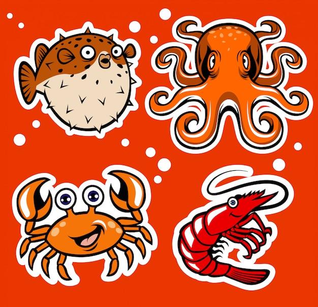 Pacote de personagem de desenho animado sealife