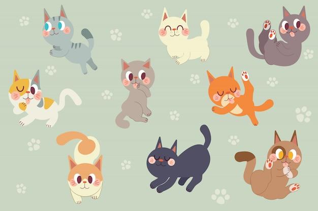 Pacote de personagem de gatos bonitos dos desenhos animados
