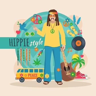 Pacote de personagem hippie para homem de cabelos longos com ilustração em vetor elementos elegantes e acessórios