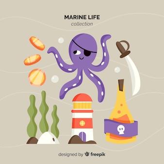 Pacote de personagem marinho de mão desenhada