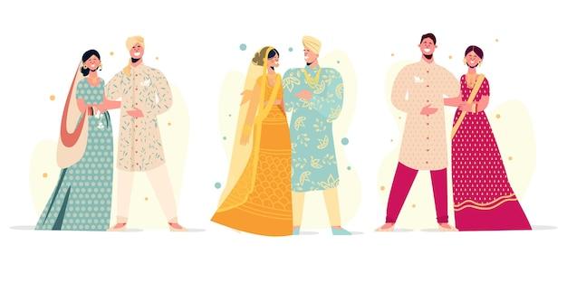 Pacote de personagens de casamento indiano