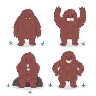 Pacote de personagens de desenhos animados bigfoot sasquatch