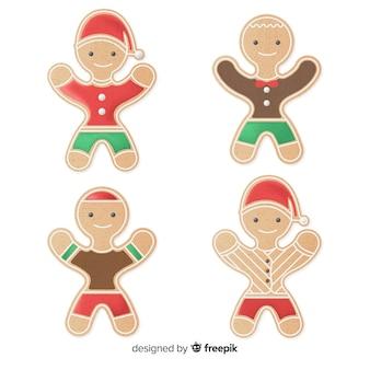 Pacote de personagens de gengibre de natal