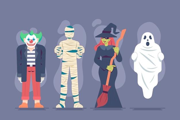 Pacote de personagens de halloween de design plano