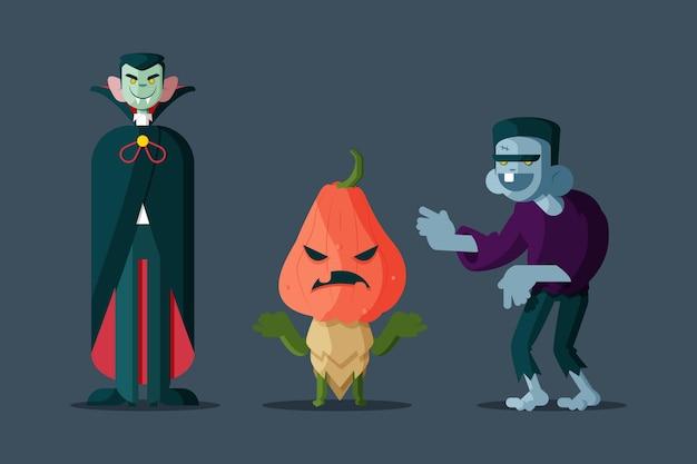 Pacote de personagens de halloween desenhado