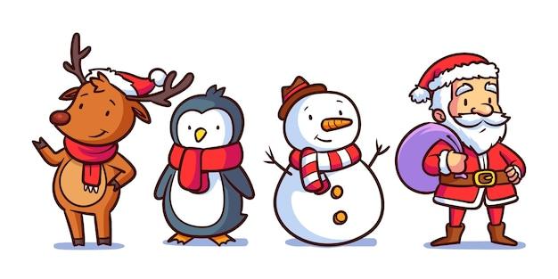 Pacote de personagens de natal desenhados à mão