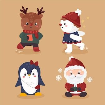 Pacote de personagens de natal desenhados
