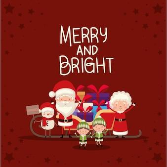 Pacote de personagens de natal e letras alegres e brilhantes sobre fundo vermelho.