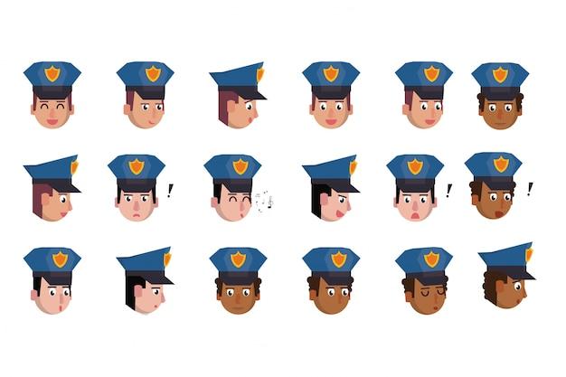 Pacote de personagens de policiais de cabeças
