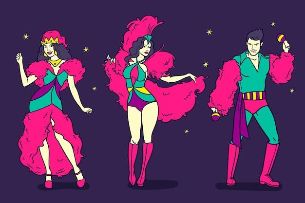 Pacote de personagens do carnaval veneziano desenhado à mão Vetor Premium