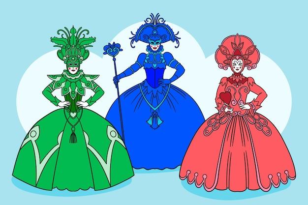 Pacote de personagens do carnaval veneziano desenhado à mão