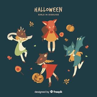 Pacote de personagens do halloween em estilo cartoon
