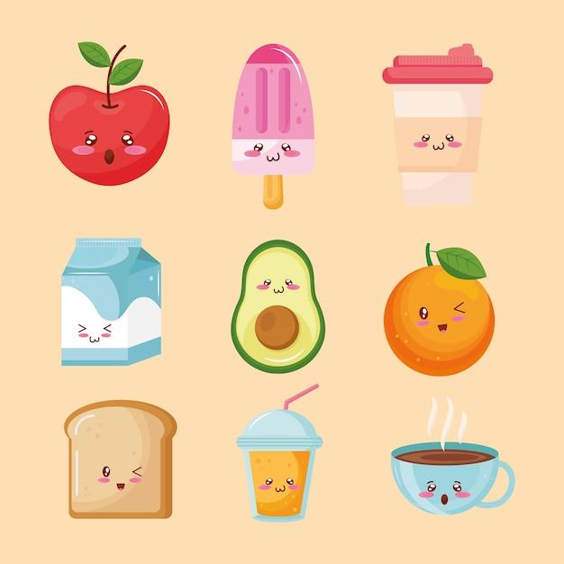 Pacote de personagens kawaii de comida