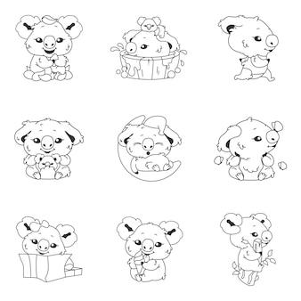 Pacote de personagens lineares coala kawaii fofa. adorável e engraçado animal correndo, tomando banho, dormindo em adesivos de lua isolada, patches. conjunto de ícones de linha fina anime bebê coala doodle emojis