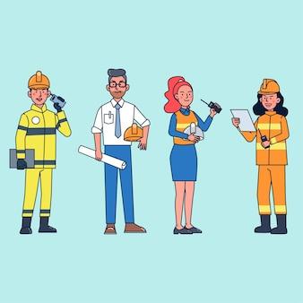 Pacote de personagens pessoas em várias ocupações, como bombeiro, supervisor de projeto, capataz. ilustração plana